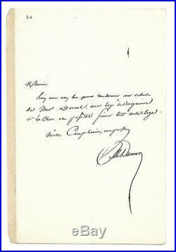 Alexandre DUMAS père / Lettre autographe signée / Marie Dorval Paris Romantique