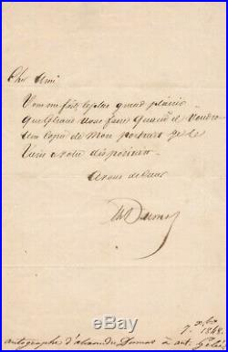 Alexandre DUMAS père portrait peintre Eugène Giraud A. Gelée lettre autographe