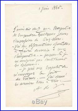 Alfred De Vigny / Lettre Autographe Signée (1846) / Cinq-mars