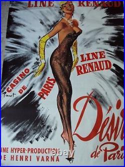 Ancienne Affiche Casino De Paris Line Renaud Cabaret Music Hall Theatre Paris
