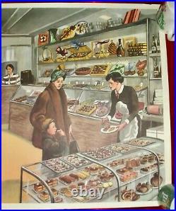 Ancienne Affiche Scolaire Rossignol EO Pâtisserie chocolat médecin à l'école
