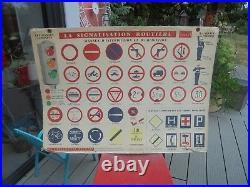 Ancienne Affiche Scolaire d'Auto-Ecole Panneaux Routiers du Code de la Route