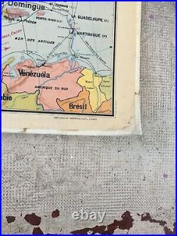 Ancienne Carte Scolaire Amerique Du Nord N 19 Vidal Colin Parlantes Muettes