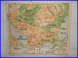 Ancienne Carte Scolaire Roumanie Yougoslavie Turquie Bulgarie N 33 Etats Balkani