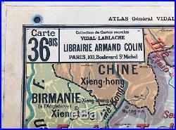 Ancienne Carte Scolaire Vintage Vidal Lablache n°36 INDOCHINE MADAGASCAR