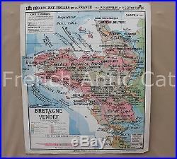 Ancienne Carte scolaire France Région naturelle géologie BRETAGNE VENDEE R080