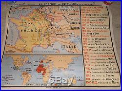 Ancienne carte affiche scolaire n 63 LA FRANCE DE 1815 a 1914