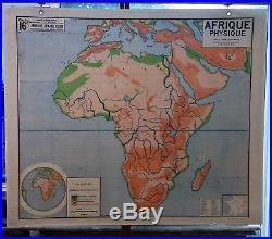 Ancienne carte géographie scolaire vidal lablache Colin 16 Afrique physique