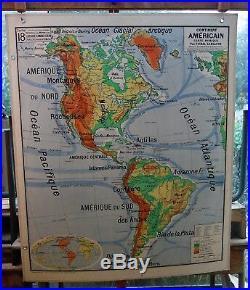 Ancienne carte géographie scolaire vidal lablache Colin 18 continent américain