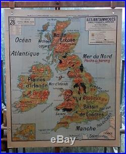 Ancienne carte géographie scolaire vidal lablache Colin 28 îles britanniques