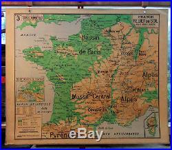 Ancienne carte géographie scolaire vidal lablache Colin 3 France relief