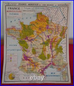 Ancienne carte scolaire Hatier N°30 FRANCE AGRICOLE/FORETS BRUNHES TYPE VIDAL