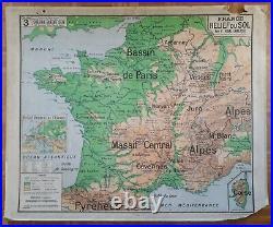 Ancienne carte scolaire Vidal Lablache, 1940/50, 3 France relief
