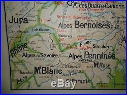 Ancienne carte scolaire Vidal Lablache 26 SUISSE POLITIQUE INDUSTRIELLE AGRICOLE