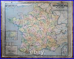 Ancienne carte scolaire Vidal Lablache, A. Colin, 4 France départements