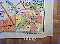 Ancienne carte scolaire Vidal-Lablache n°24, 1958 Paris capitale / Environs