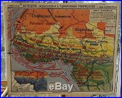 Ancienne carte scolaire géographie hatier Afrique occidentale et équatoriale