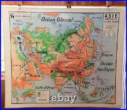 Ancienne carte scolaire géographie vidal lablache Colin 14 Asie physique