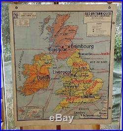 Ancienne carte scolaire géographie vidal lablache Colin 28 Iles britanniques