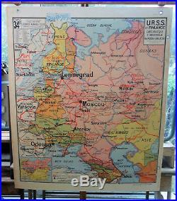 Ancienne carte scolaire géographie vidal lablache Colin 34 urss et finlande