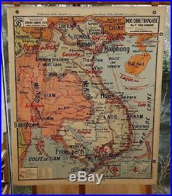 Ancienne carte scolaire géographie vidal lablache Colin 36 Madagascar Indochine