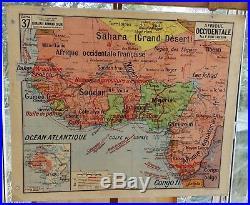 Ancienne carte scolaire géographie vidal lablache Colin 38 Tunisie Afrique occ