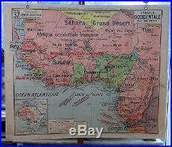 Ancienne carte vidal lablache Colin 37 Afrique Antilles Guyane Nelle Calédonie
