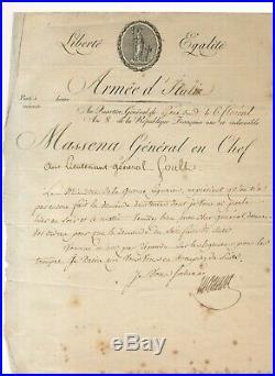 André MASSÉNA lettre signée 26 avril 1800 Gênes En-tête Armée dItalie Empire