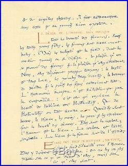 André SUARES, joli manuscrit autographe sur l'Homme et la Nature