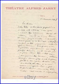 Antonin Artaud / Lettre Autographe (1928) / Au Sujet De Littérature /