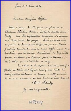 Architecte Ambroise Baudry lettre autographe signée Roumanie Théodore Aman