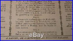 Arrivée et séjour de S. A. R. MADAME DUCHESSE DANGOULÊME. Affiche Nantes. 1823
