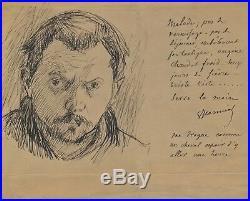 Art Pierre Georges JEANNIOT lettre autographe signée dessin autoporait