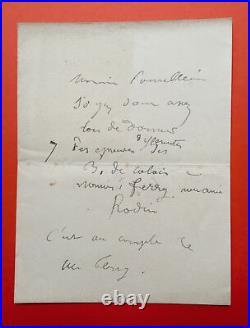Auguste RODIN Billet autographe signé / Bourgeois de Calais