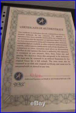 Authentic Walt Disney Signed Card with COA / UACC
