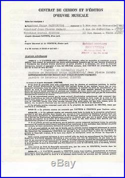 Autographe De Coluche & Serge Gainsbourg / Contrat Signé (1977) / Cinéma