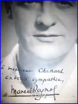 Autographe Dédicace EXCEPTIONNELLE de MARCEL PAGNOL sur très Grande Photo 30x40