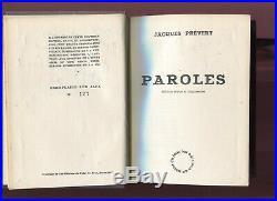 Autographe Dédicace Envoi de JACQUES PRÉVERT sur Editions Numerotée PAROLES 1948