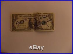 Autographe Dédicace JOHNNY HALLYDAY sur Billet de Banque Dollar Las Vegas 1996