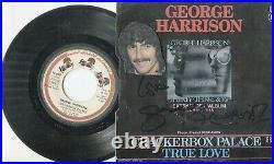 Autographe Dédicace ORIGINAL de GEORGE HARRISON The BEATLES sur Face de 45T 1977