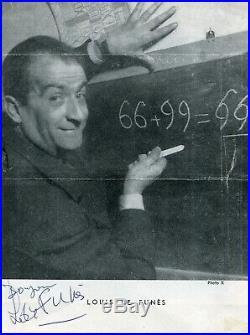 Autographe Dédicace ORIGINAL de LOUIS de FUNES Page Programme OSCAR 1959