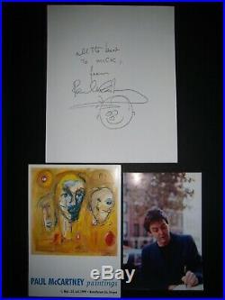 Autographe Dédicace ORIGINAL de PAUL McCARTNEY 1999 + Carton Expo Painting VIP