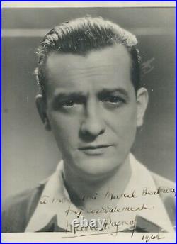 Autographe Dédicace ORIGINAL de l'Ecrivain MARCEL PAGNOL sur Photo Portrait Rare