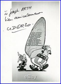 Autographe Dédicace ORIGINAL du dessinateur ALBERT UDERZO sur Photo ASTERIX 1977