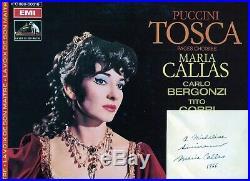 Autographe Dédicace de 1966 de la Diva MARIA CALLAS sur bristol 8x10 + LP 33T