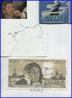 Autographe Dédicace de SERGE GAINSBOURG Lot de plusieurs documents