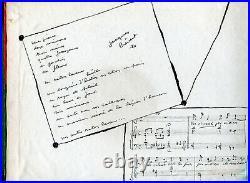 Autographe Dédicace du Poète JACQUES PRÉVERT sur coffret 4 LP78T Frères Jacques