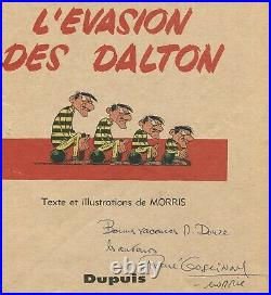 Autographe Dédicaces de RENÉ GOSCINNY & MORRIS sur page BD L'évasion des DALTON