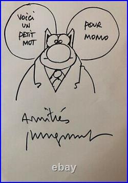 Autographe Dessin original de Philippe Geluck Le Chat Dédicace / Signé