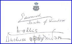 Autographe EDWARD DUKE OF WINDSOR & WALLIS dédicace signed signiert autografo